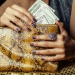 Pretty fingers of african american woman holding money close up with purse, luxury jewellery on python clutch, cash for gifts — Stock Photo #78433904