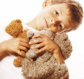 Little cute boy with many teddy bears hugging isolated close up — Stock Photo