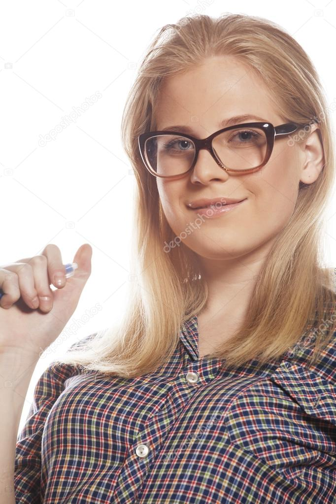junge h bsche m dchen teenager in der brille auf wei en isoliert blondes haar moderne hipster. Black Bedroom Furniture Sets. Home Design Ideas