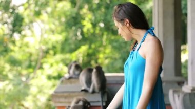 Woman in monkey forest in Ubud — Stock Video
