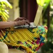 Woman hands typing on laptop on bench — Stock Video #59368677