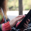 Female hands with tablet computer in the city — Stock Video #61866419
