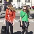 Girlfriends with shopping bags in the city — Stock Video #61867169