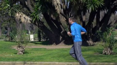 Young man jogging in the park — Stock Video
