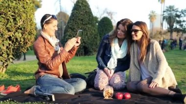 Girlfriends taking photo with tablet computer on picnic in park — Stock Video