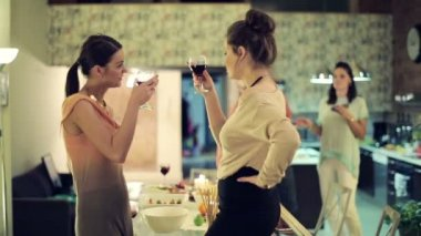 Two girlfriends raising toast, having fun at home party — Stock Video