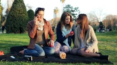 Three young girlfriends talking on cellphone relaxing on blanket in park — Stock Video