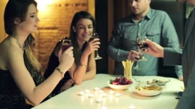 Happy group of friends raising toast with wine during party — Vídeo stock