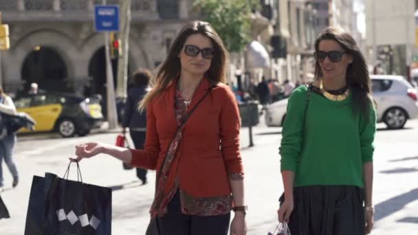 Girlfriends with shopping bags walking in the city — Vídeo de stock