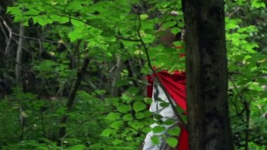 Beautiful mysterious red riding hood walking in forest — Stock Video