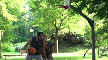Two men playing basketball — Stock Video