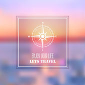Summer sea travel abstract background with compass rose symbol. — Stock Vector