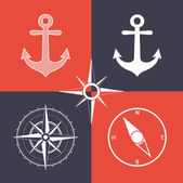 Anchor and compass wind rose symbols — Stock Vector
