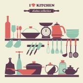 Vintage kitchen dishes icons set — Stock Vector