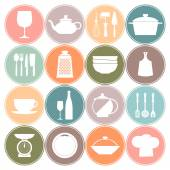 Cooking and kitchen dishes icons — Stock Vector