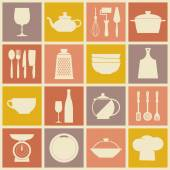 Cooking and kitchen dishes icons — Vettoriale Stock