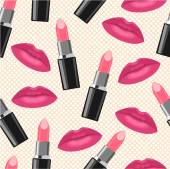 Kiss lips and pink lipstick pattern — Vetorial Stock