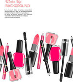 Beauty salon make up fashion pattern — Stock Vector