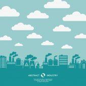 Industial fábrica e nuvens voa — Vetorial Stock