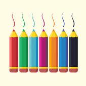 Set di matite colorate piatte. — Vettoriale Stock