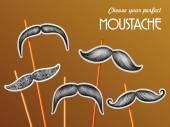 Mustache sticker set — Stock Vector