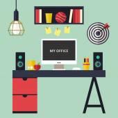 плоский интерьер домашнего офиса — Cтоковый вектор