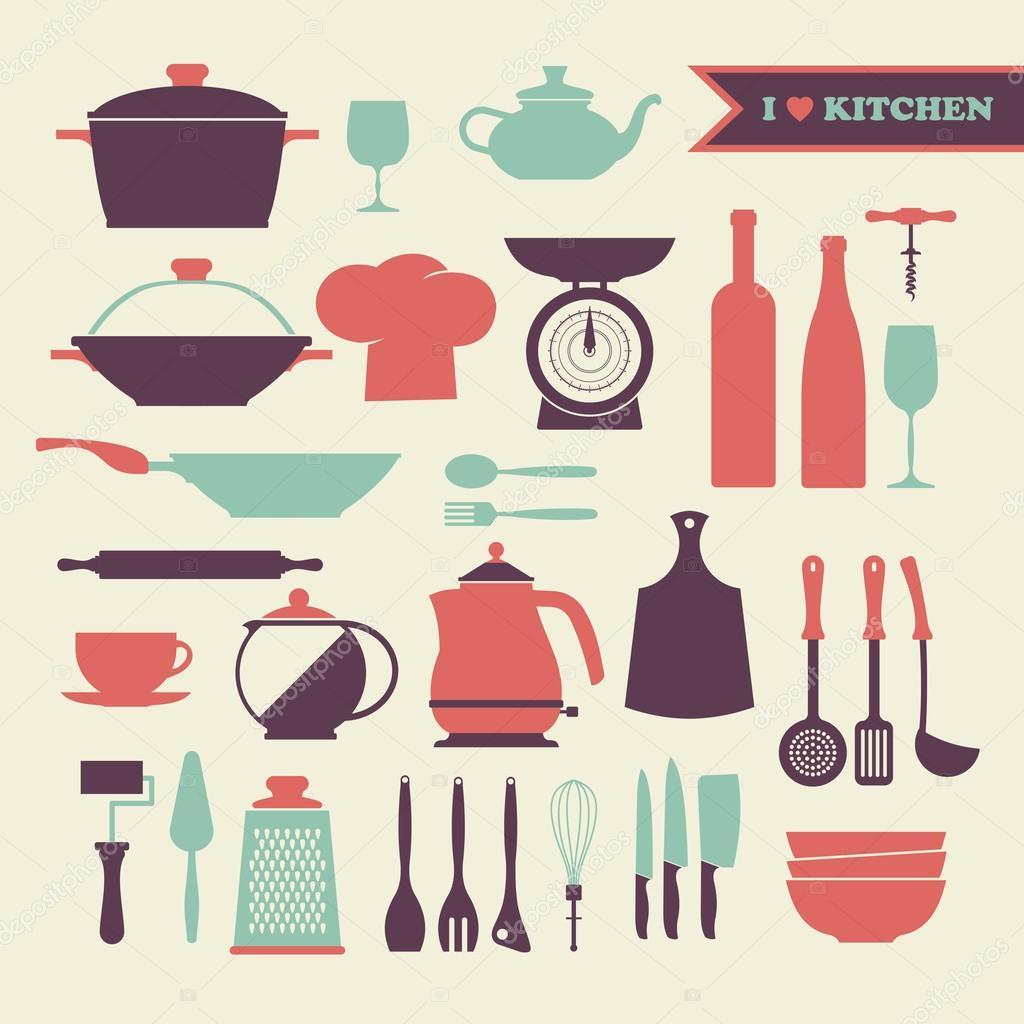 Retro Kitchen Illustration: Set Di Icone Vintage Cucina Piatti