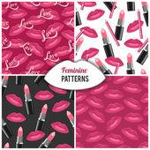 Lips kisses patterns — Stock Vector