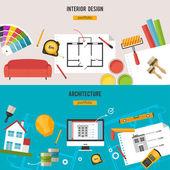 Architecture, Interior design banners — Stock Vector