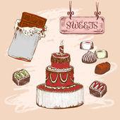 Sada sladkosti — Stock vektor