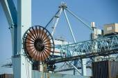 Commercial harbor with large industrial cranes — Stock Photo