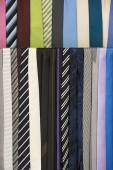 Colorful neckties hanging, fashion accessory — Stock Photo
