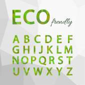 Green Polygonal Alphabet Set. Eco friendly style. — Stock Vector