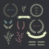 Wreaths and laurels set. Vector. — Stock Vector