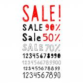 A set of signs and labels Sale and set of numbers. Doodle style. Vector. — Stock Vector