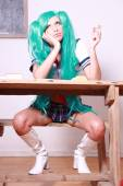 Bored manga style schoolgirl — Stock Photo