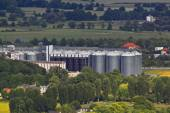Industrial silos in the fields — Stock Photo