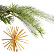 Straw star on a christmas tree — Stock Photo #53593611