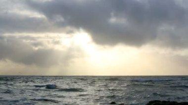 Waves of the Atlantic Ocean with dark clouds — ストックビデオ