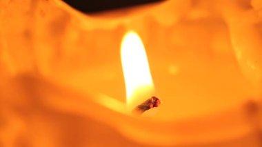 Closeup of a burning candle — Stock Video