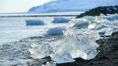 Ice blocks melting at a glacier lagoon in Iceland — Stock Video