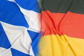 Bavarian flag vs. Germany flag — Stock Photo