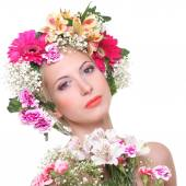 Portrait of beauty with a flowered head — Stock Photo