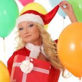 Vánoční žena s dárky box — Stock fotografie