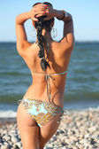 Mulher sexy na praia — Fotografia Stock