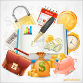 Items of business, money, gold coins vector — Stock Vector