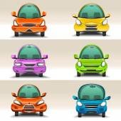Colorful cartoon cars  front view — Stock Vector