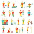 Постер, плакат: People in different situations friends family couple hobby sport health vector