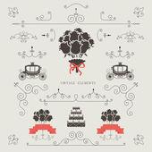 Set of vintage elements, design, wedding invitation, frame, borders vector — Vector de stock