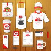 Set of restaurant corporate identity, burgers, uniform, flyer, shirt, cup, menu, package, apron,  coffee cup vector illustration — Stock Vector